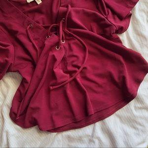 Express Tops - Lace Up Shirt